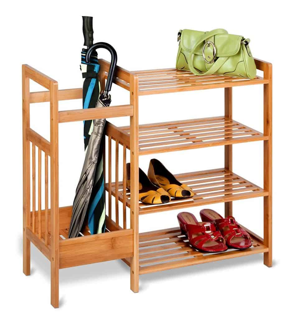 Entryway Organization Ideas. Shoe rack with a side compartment for umbrellas