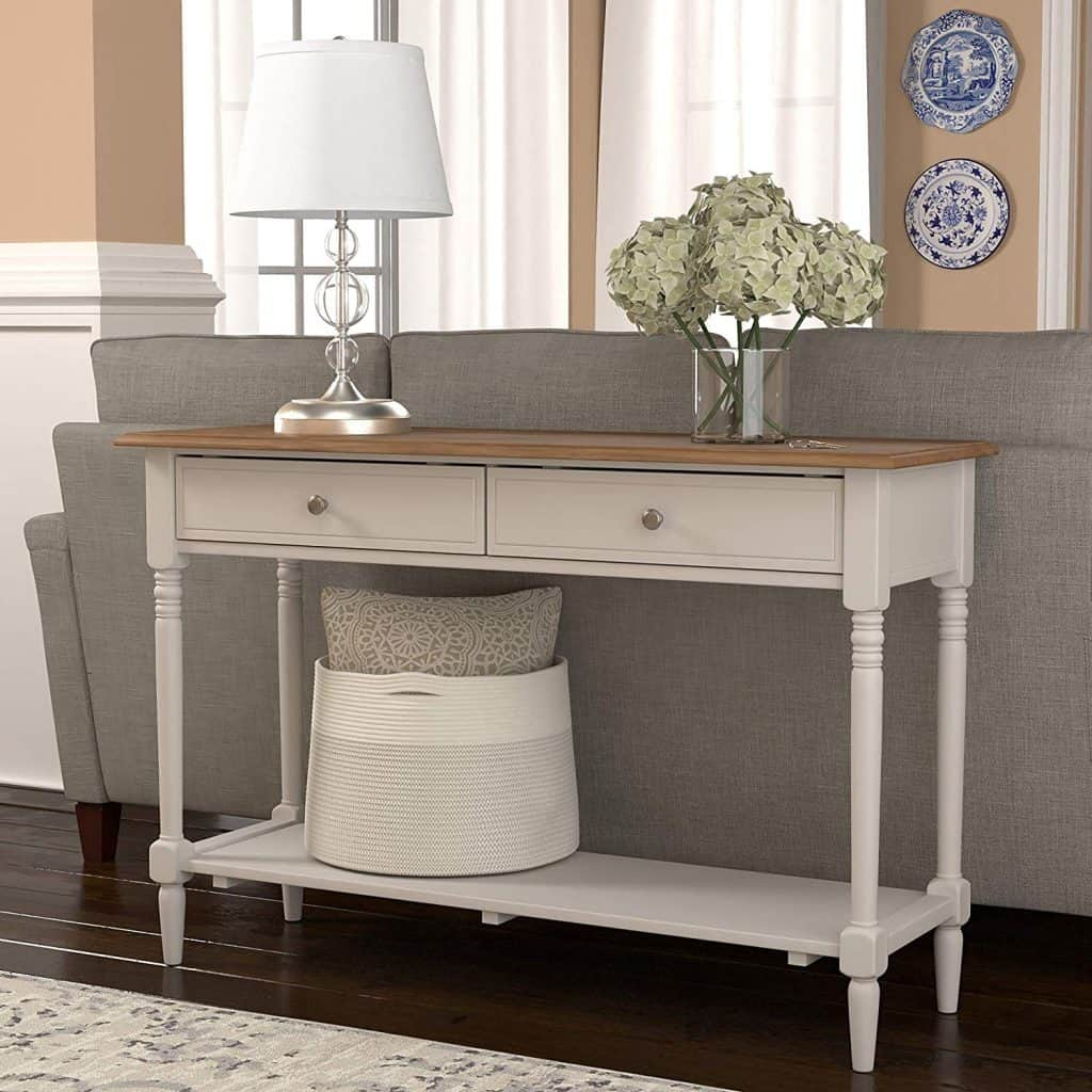 Entryway organizer - a farmhouse console table with drawers for you to drop off your keys, papers, etc...