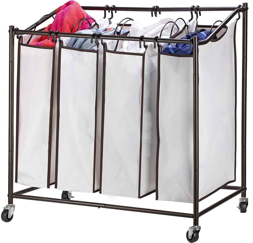 Laundry Room organization idea - rolling laundry hamper with multiple baskets