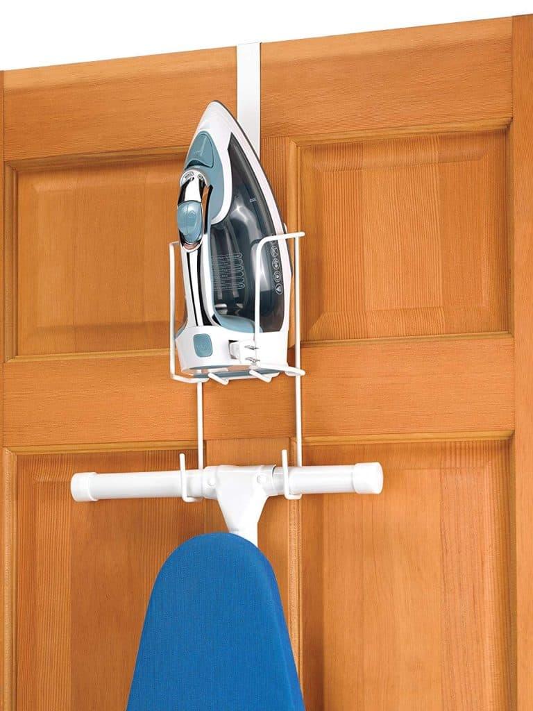 Laundry room organization ideas - over the door ironing board holder