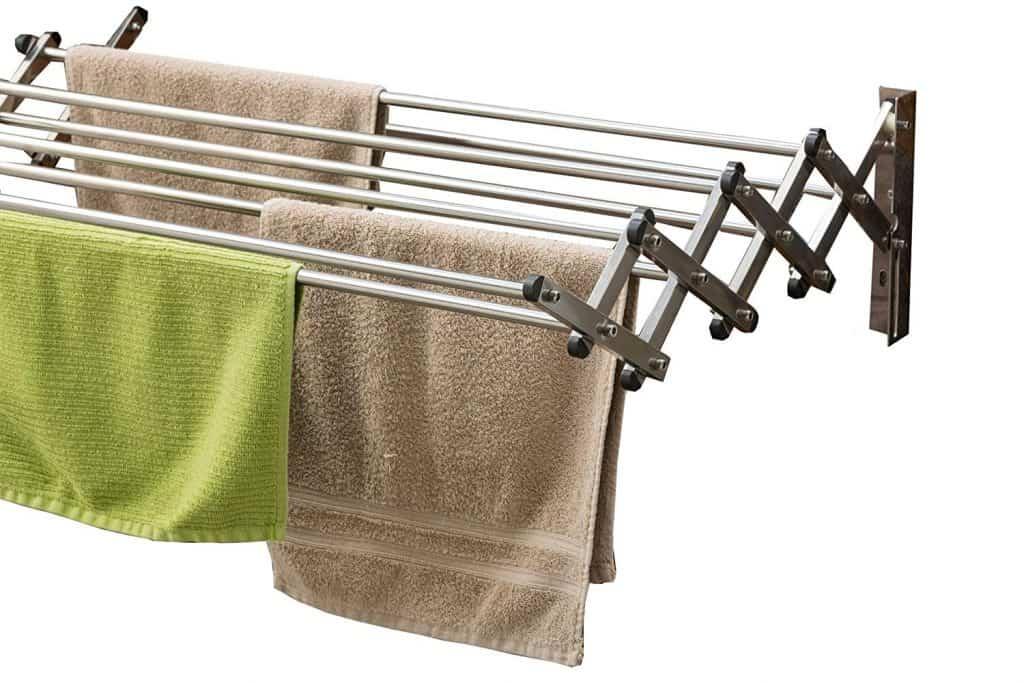 laundry room organization idea - retractable clothes hanger