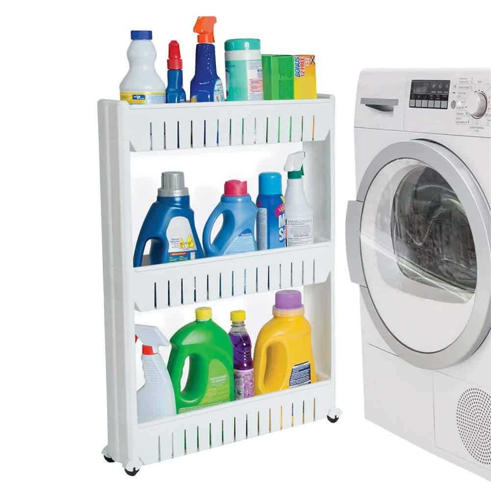 Small, thin rolling cart fits next to the laundry machines. Great laundry room organization idea in order to store soaps, stain removers, etc...