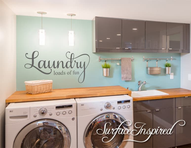 Build a counter top over the front loading washer and dryer - makes a great Laundry Room Decor and Laundry room organization ideas