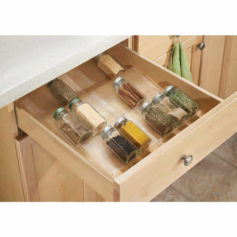 Spice Storage Ideas - drawer organizer. You slide it away when you don't need it. Such a cool spice rack ideas