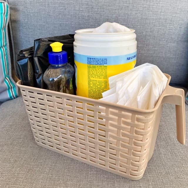 RV storage bins - make a cleaning caddy with plastic bin and a handle.