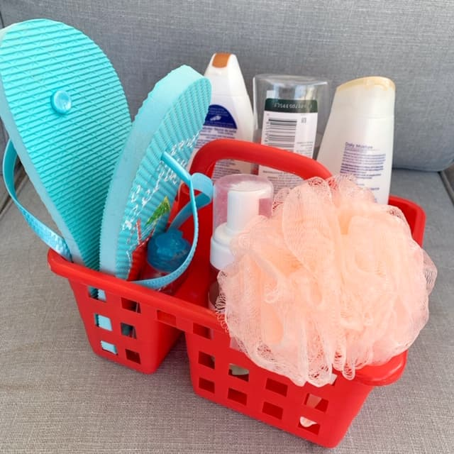 RV shower caddy to bring with you to the campground's shower facilities