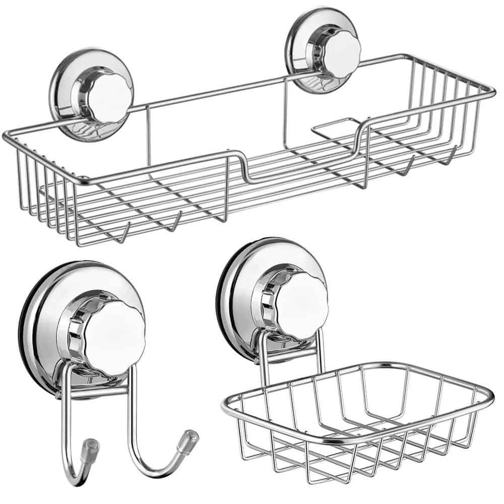 RV bathroom storage ideas - these wall-mounted suction cup shelves will help keep your shower items close by and off the floor.