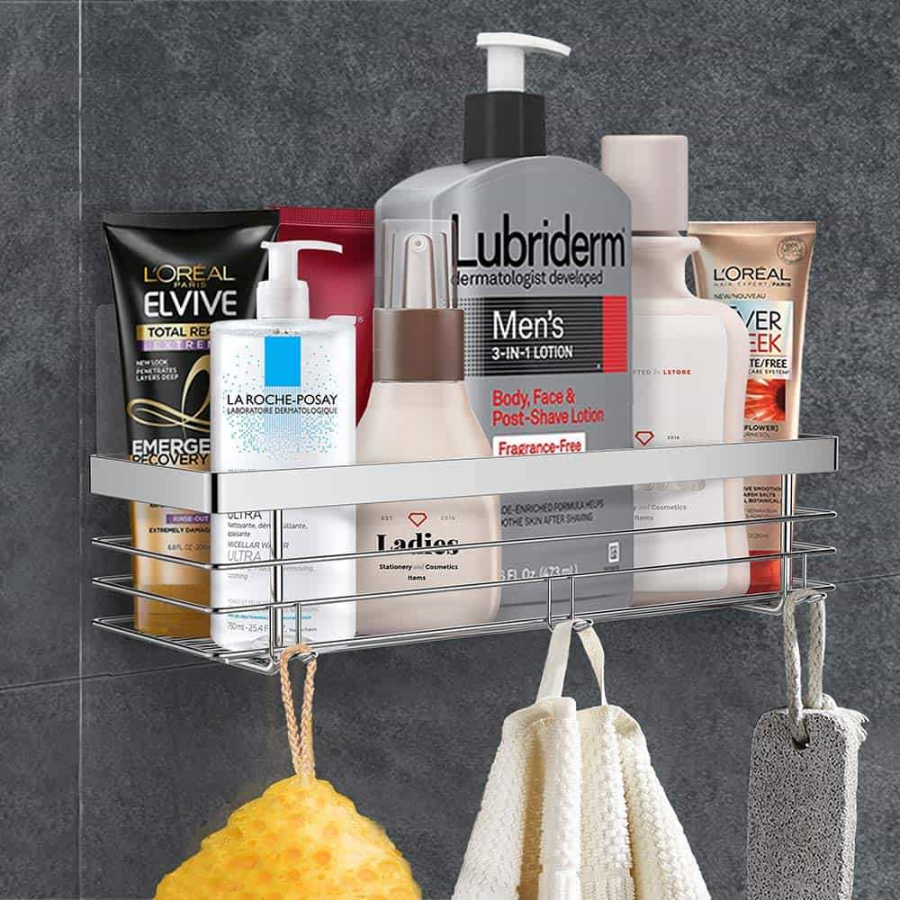 RV Bathroom storage ideas - a wall-mounted shelf helps keep your shower products close by and off the floor.