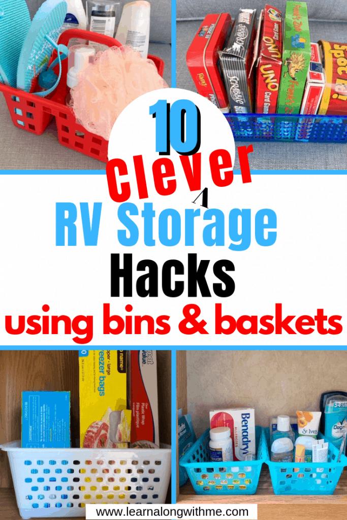 RV storage bins and organization ideas using simple plastic bins and baskets.
