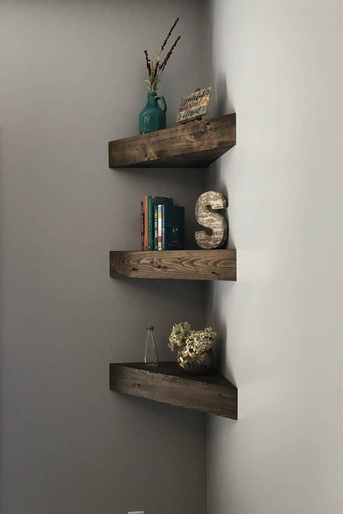 small bedroom organization ideas - corner shelves