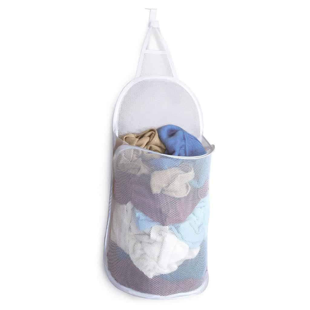 Small Bedroom organization ideas - hanging laundry hamper