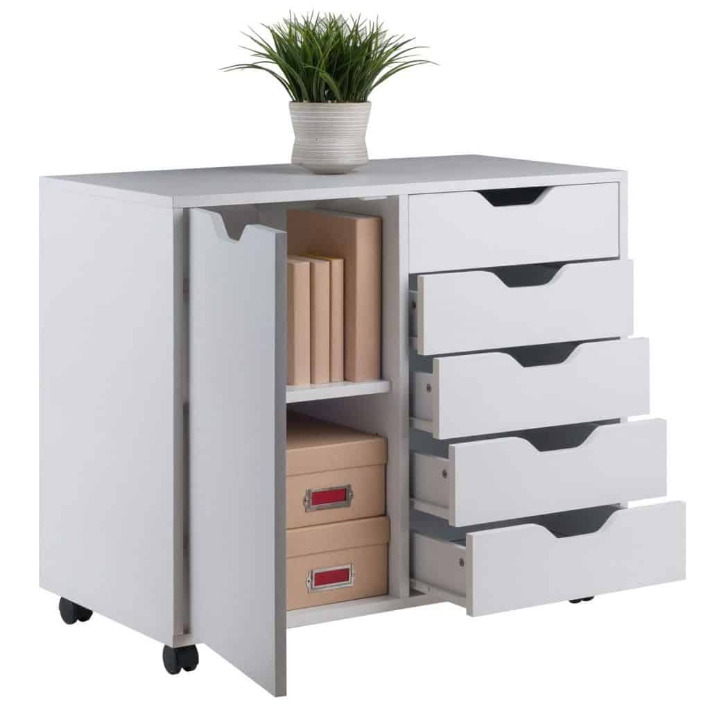 Craft room storage ideas - rolling wooden cart