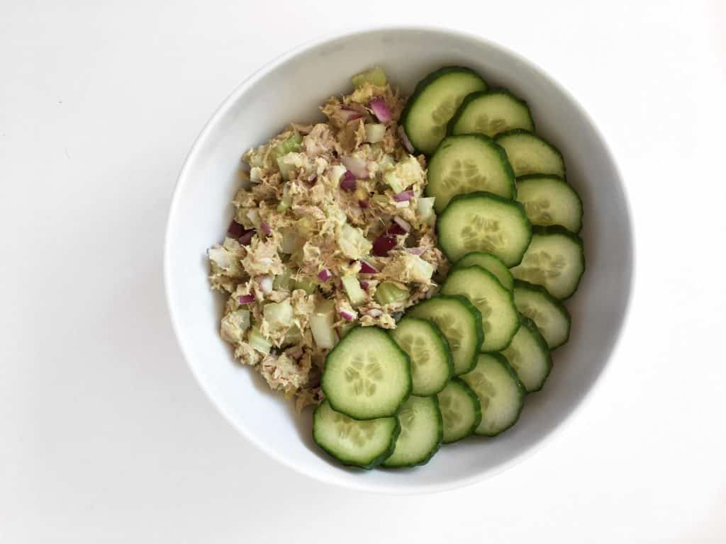 Paleo Lunch Ideas - a tuna and cucumber salad makes a tasty quick paleo lunch.