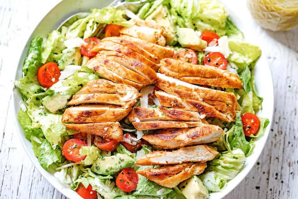 Paleo Dinners - a blackened chicken recipe served over salad.  A tasty paleo dinner recipe idea for families