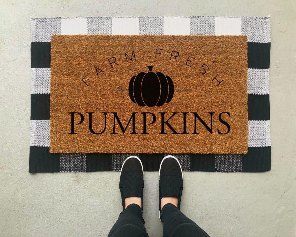 Fall Porch Decor Ideas - new farm fresh pumpkins welcome mat