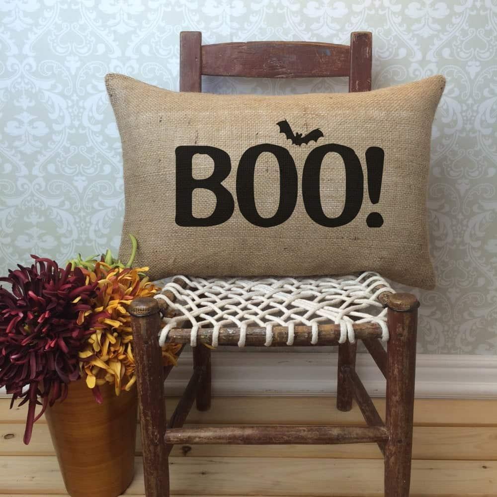 Fall Porch Decor ideas - Burlap Boo pillow