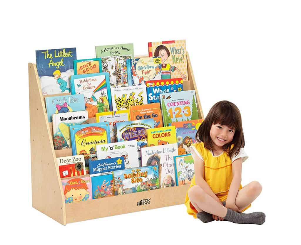 toddler bedroom organization ideas - book display case