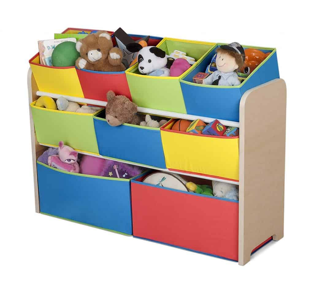 toddler bedroom organization ideas - toy storage with fabric bins