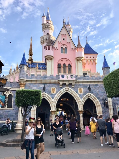 Sleeping Beauty's Castle is in Disneyland park. They used forced perspective techniques to make it seem larger than it really is.