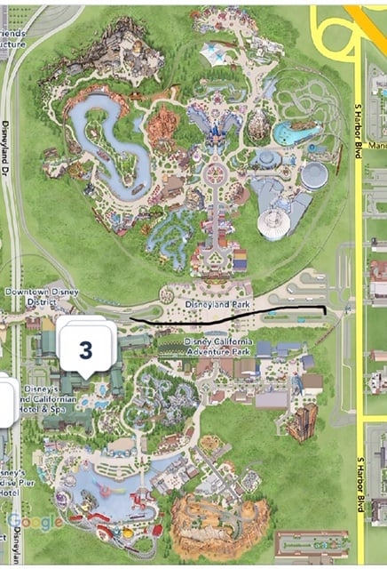 Difference between disneyland and california adventure -- showing it on the Disney app's map