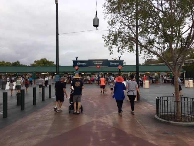 This is the security checkpoint at the entrance to Disneyland...on the other side of the security checkpoint is the Esplanade.