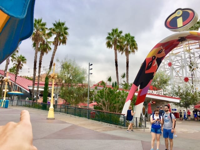 Single Rider lines at Disneyland and California Adventure. I'm pointing to where the single rider line entrace for the IncrediCoaster is.