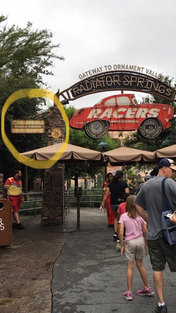 Going to Disneyland Alone - Single Rider line for Radiator Springs Racers