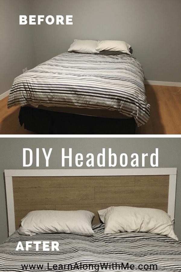 cheap DIY headboard using laminate flooring and using window casing as trim