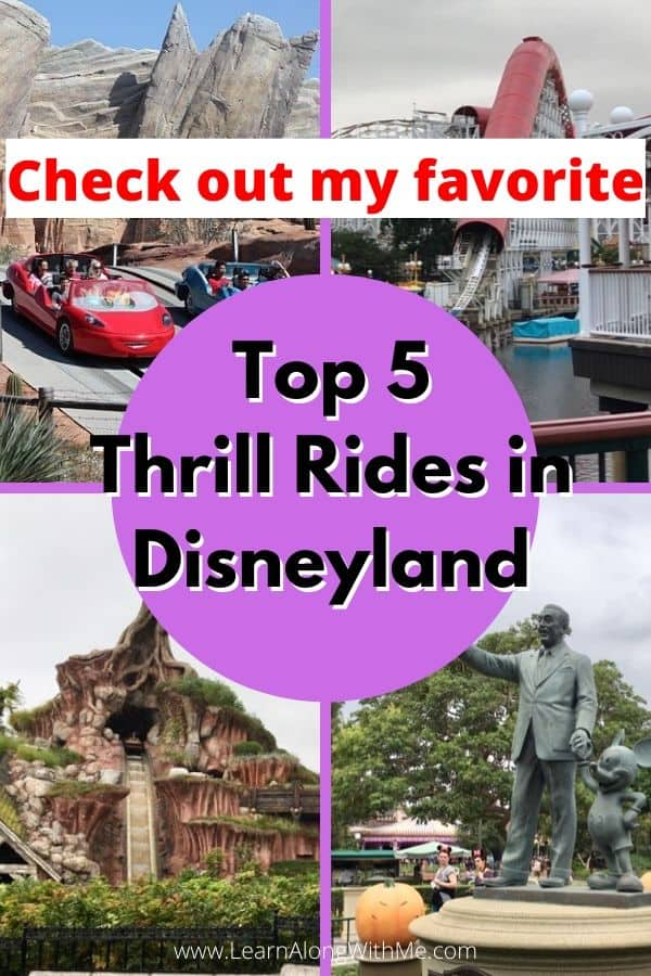 Disneyland rides ranked according to thrill factor.  My Top 5 thrill rides at Disneyland