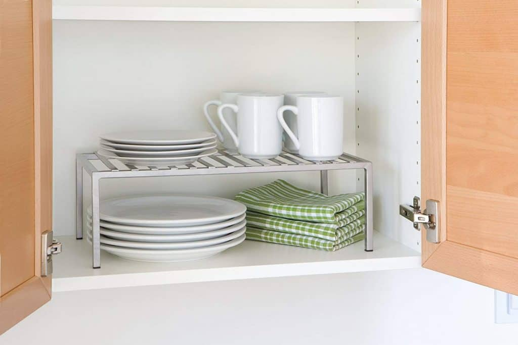 RV Dish Storage Idea - add an extra shelf in the cabinet
