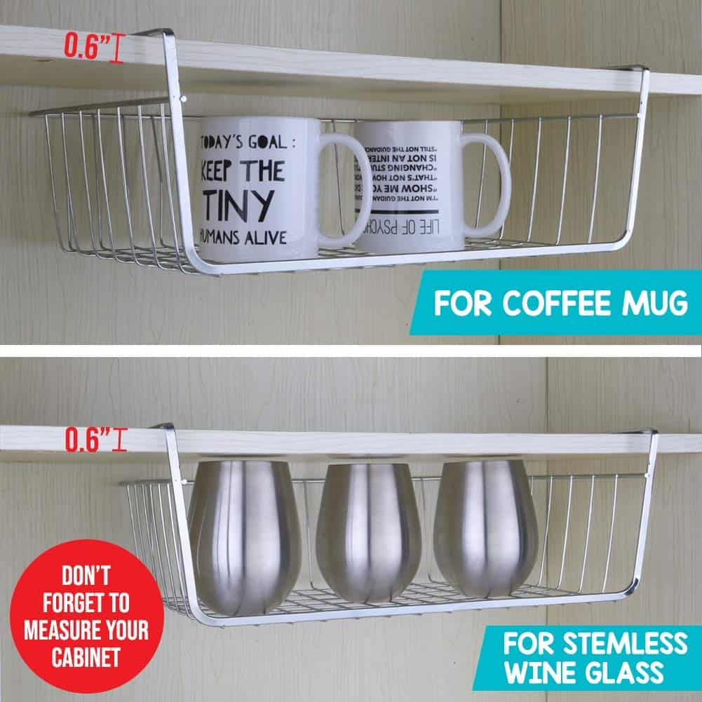 RV Dish storage idea - make more room using under shelf basket
