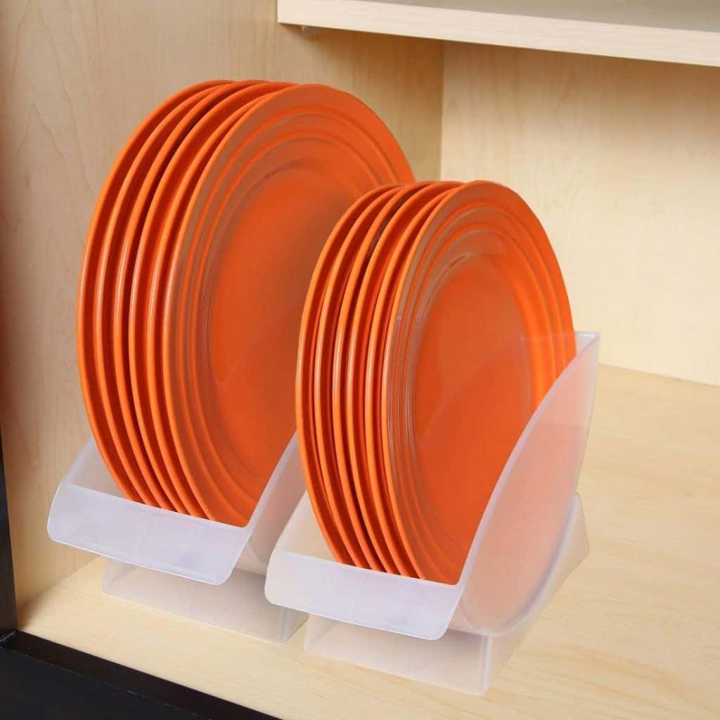RV dish storage idea - vertical plate holder