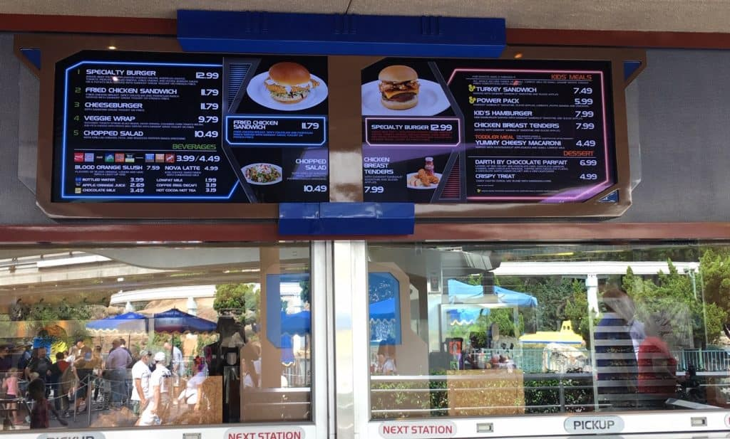 How much to get into Disneyland - you need to consider the price of food too. Here is menu from a restaurant in Disneyland
