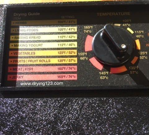 Excalibur Food Dehydrator Temperature knob and label