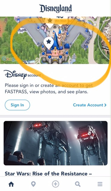 Drinking water fountains in Disneyland - find water fountains using the Disneyland app. Open the app and click and the map picture.