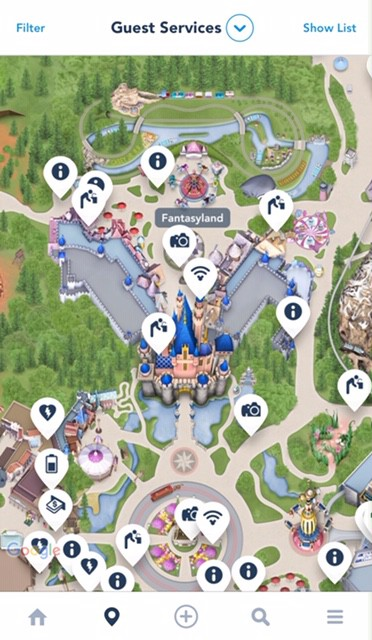 Drinking water fountains in Disneyland - find water fountains using the Disneyland app. The guest services category shows lots of things available at disneyland like water fountains, picture spots, AED's and more.