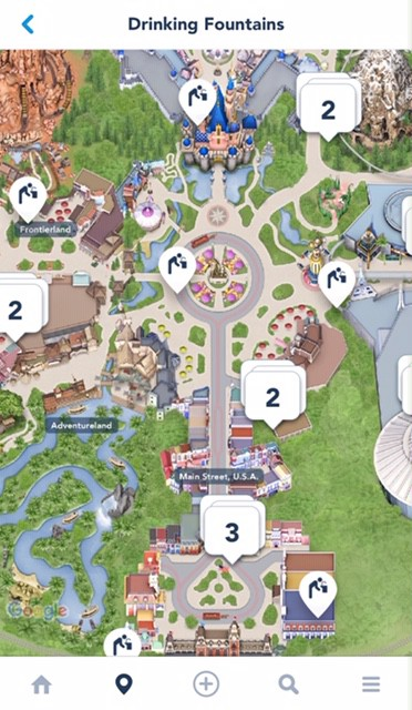 Disneyland water fountains - how to use the disneyland app to find them