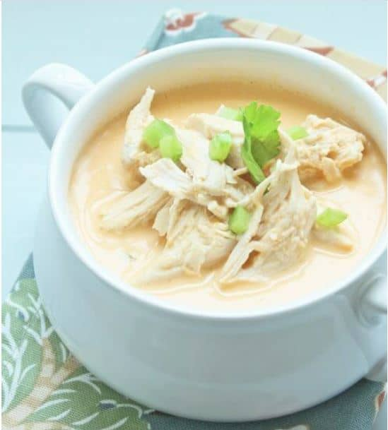 Keto chicken recipes dinner - buffalo chicken soup uses cooked shredded chicken and heated on the stove top.