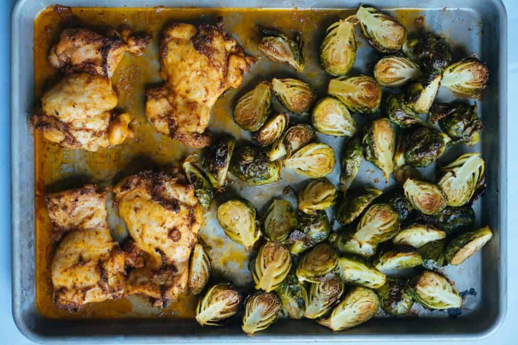 Keto chicken dinner recipes - one sheet chicken and brussel sprout recipe from ketoconnect.net