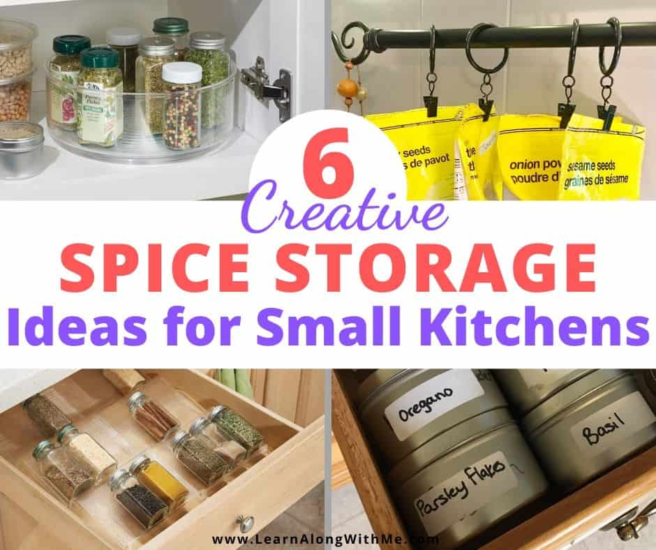 Spice rack ideas for small kitchens - this article contains 6 spice storage ideas and spice rack ideas and it'll be sure to have something to help you get more organized.