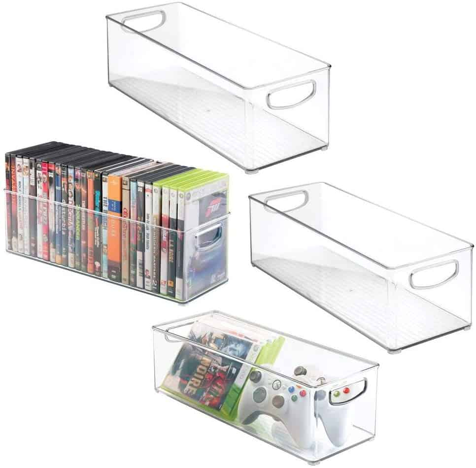 Organize entertainment center - plastic media storage baskets