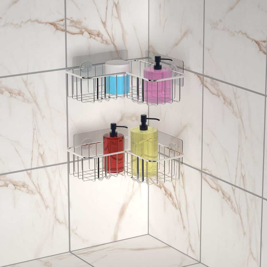 Shower organization ideas -- corner shower shelves adhesive