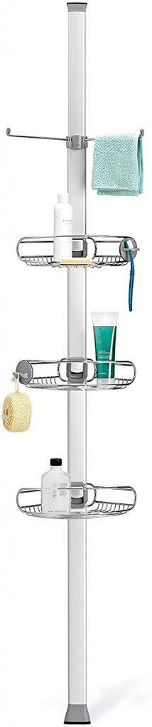 Shower organization ideas - vertical tension pole shelves