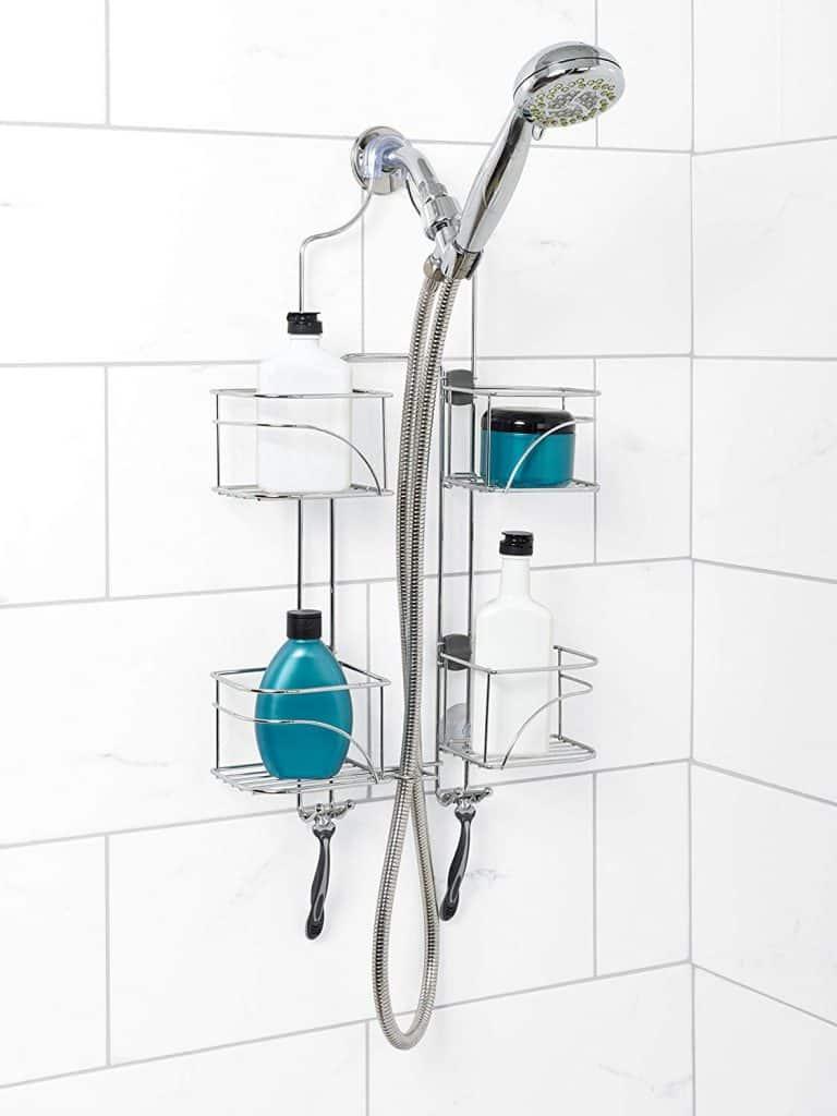 Shower organization ideas - expandable shower caddy. The shelves slide sideways to accommodate shower hoses.