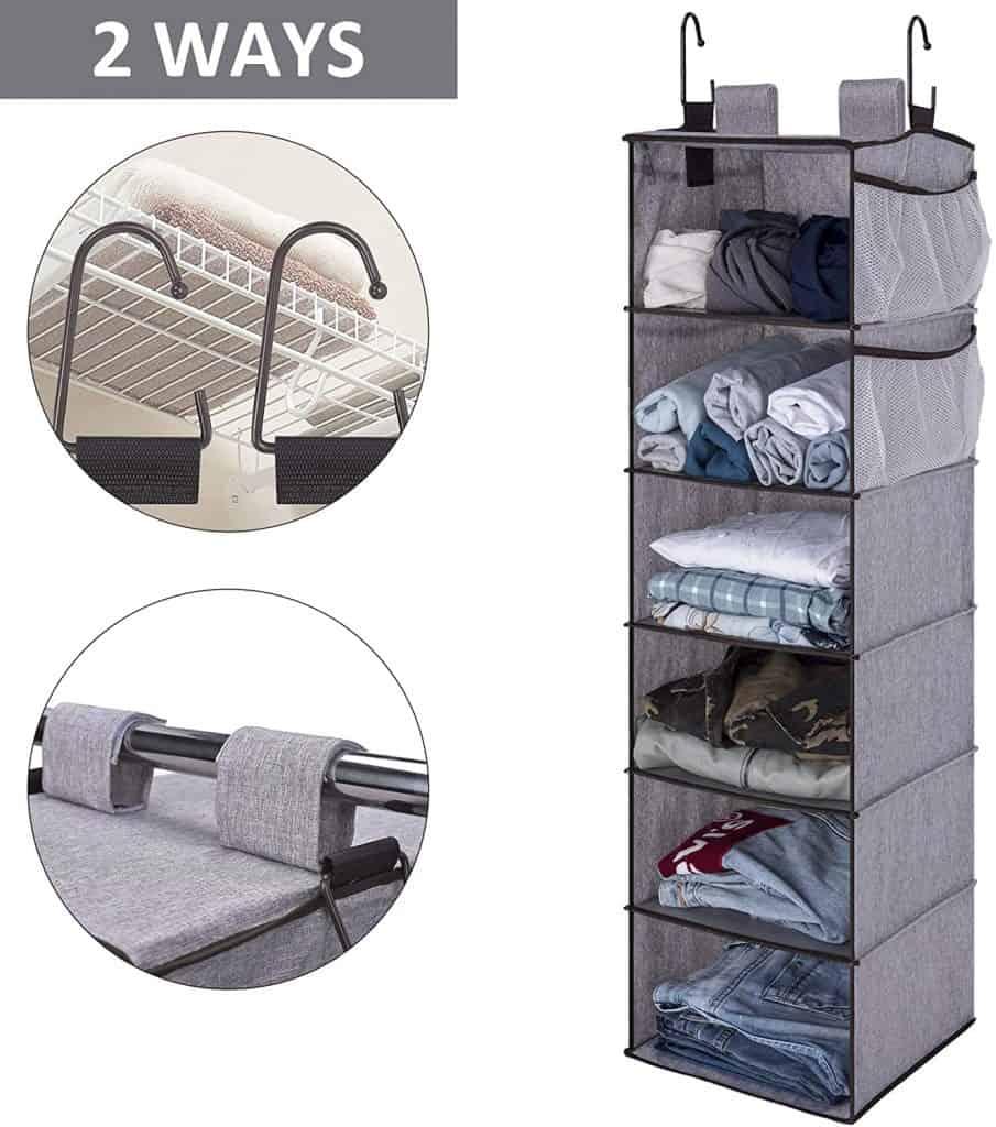 Hanging closet shelves make a great closet organizer