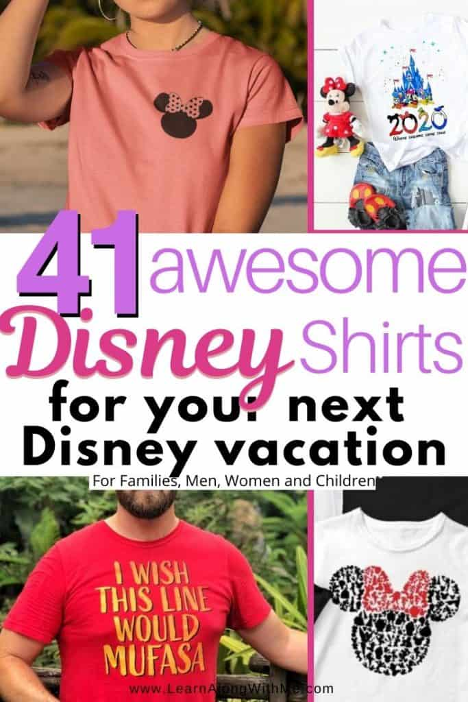 41 Awesome Disney Shirts for your next Disney vacation.  These are the perfect going to Disney shirts for women, men, children and matching family Disney shirts. They include some really funny Disney shirts and clever DIsney shirts for the whole family.