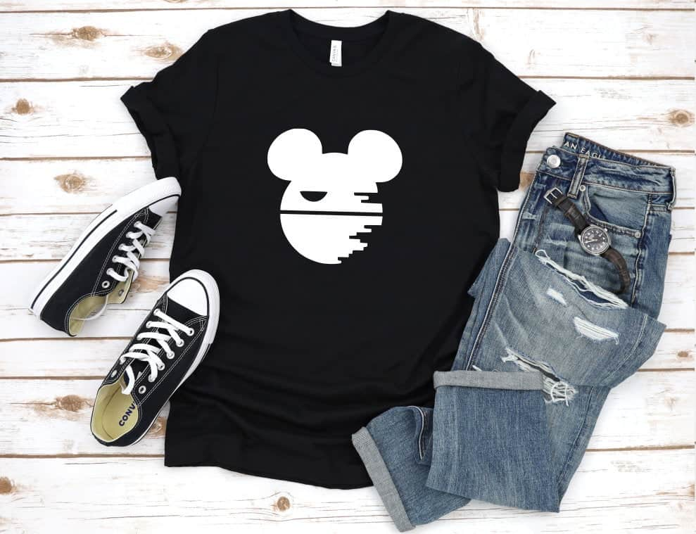 Clever Disney shirts - mens death star t shirt that is a mickey mouse silhouette too. it is a really cool Disney shirt for guys that love star wars