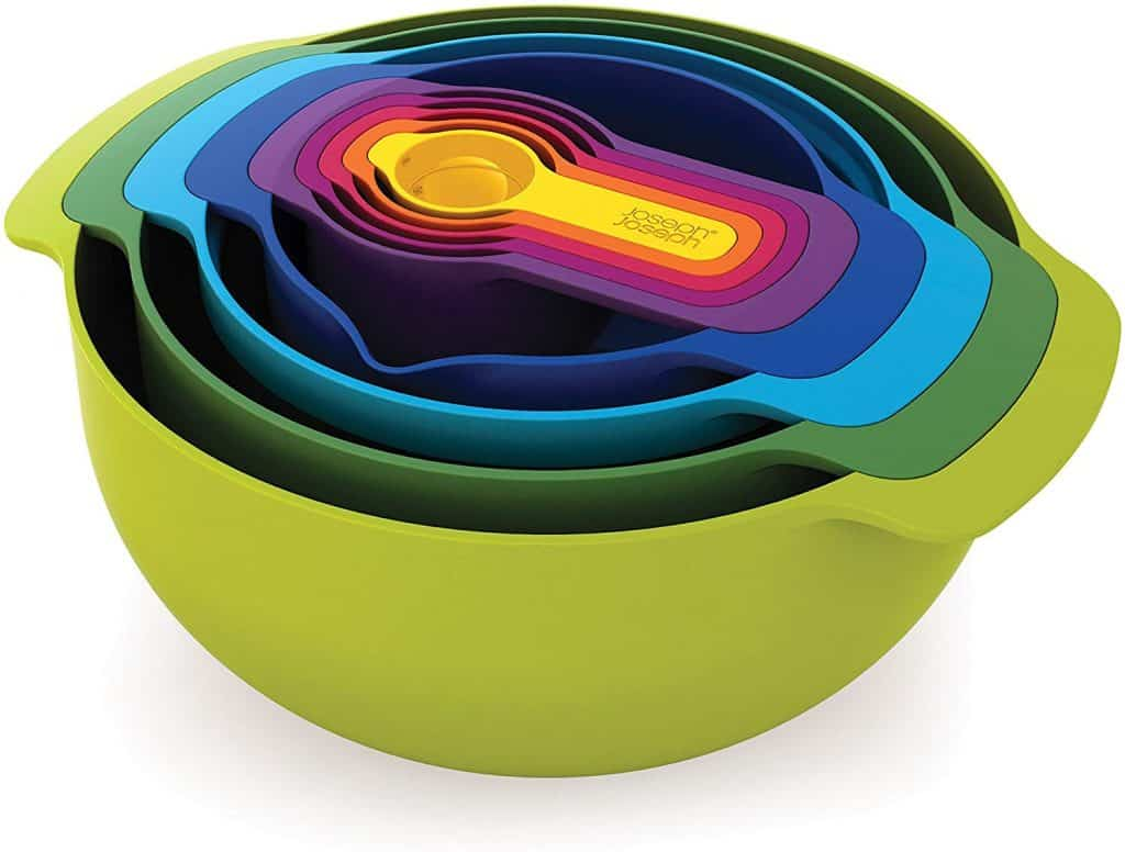 Nesting bowls are great for RV kitchen cabinet organization. This set is by Joseph Joseph