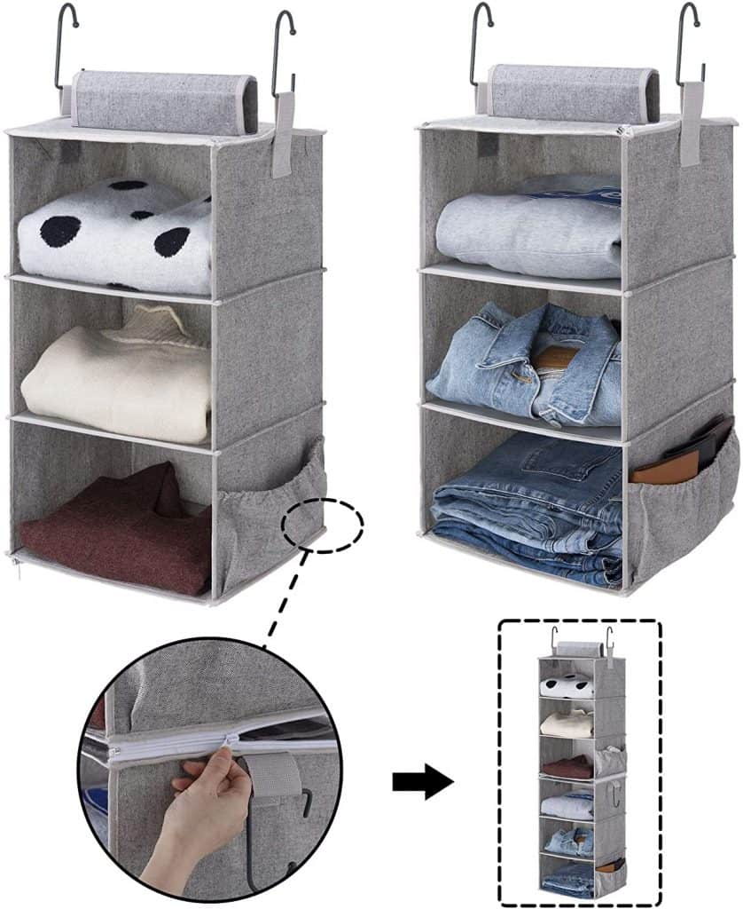 Closet organization ideas - 3 shelf hanging organizer that can be zipped together to make a 6 shelf unit