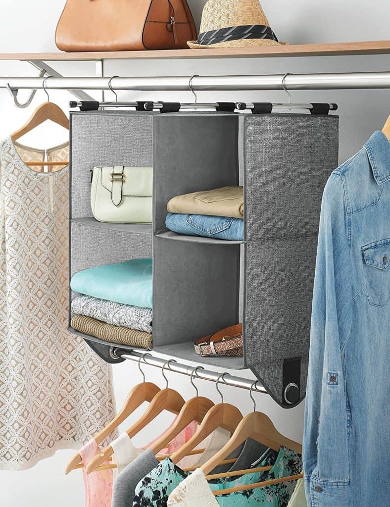 Closet storage cubbies with handing closet rod for extra storage